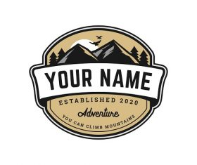 Adventure Mountain Badge Logo Template Vector