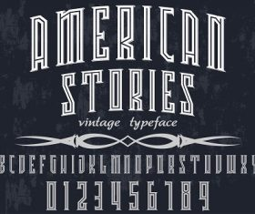 American Stories Vintage Typeface Font Vector