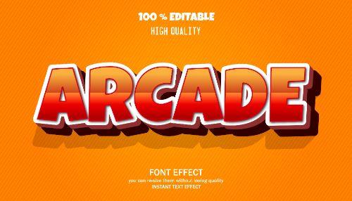 Arcade Editable Text Effect Vector