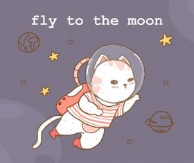 Astronaut Cat Fly On Galaxy Vector