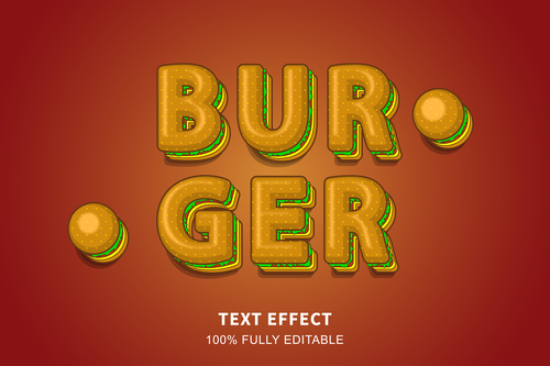 BURGER editable effect text illustration vector
