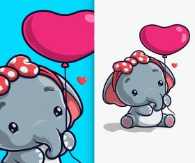 Baby Elephant with Heart Shape Balloon Vector