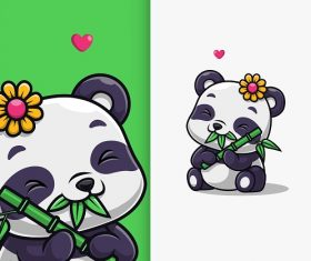 Baby Panda Eating Bamboo Cartoon Vector