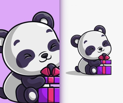 Baby Panda with Gift Cartoon Vector