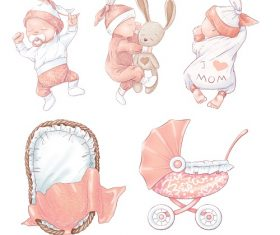 Baby Pink Sleeping with Stroller Vector