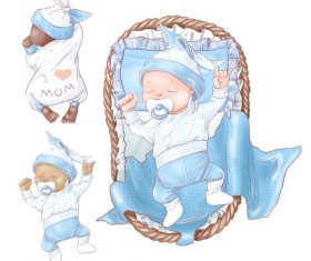 Baby Sleeping in Blue Bed Vector