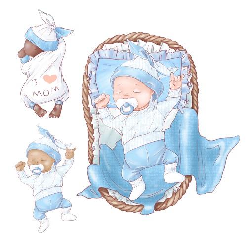 Baby Sleeping in Blue Bed Vector
