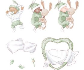 Baby Sleeping with Heart Bed Vector