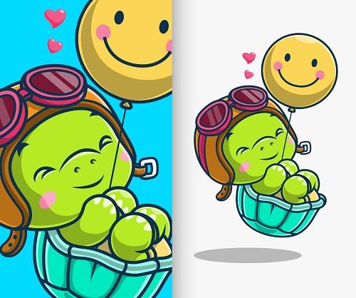 Baby Turtle with Balloon Cartoon Vector