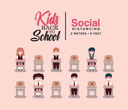 Back to School and Social Distancing Vector