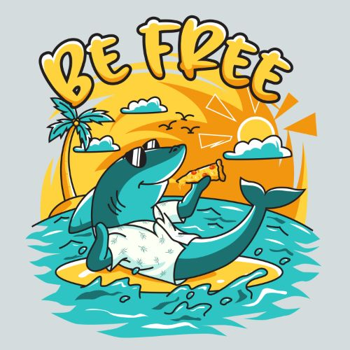 Be Free Shark Cartoon Vector