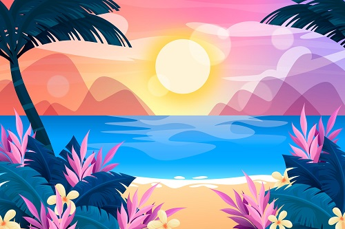 Beautiful Summer Beach Background Vector