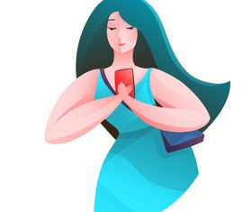 Beautiful Woman Looking at Her Smart Phone Vector