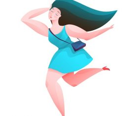 Beautiful Woman Running Vector