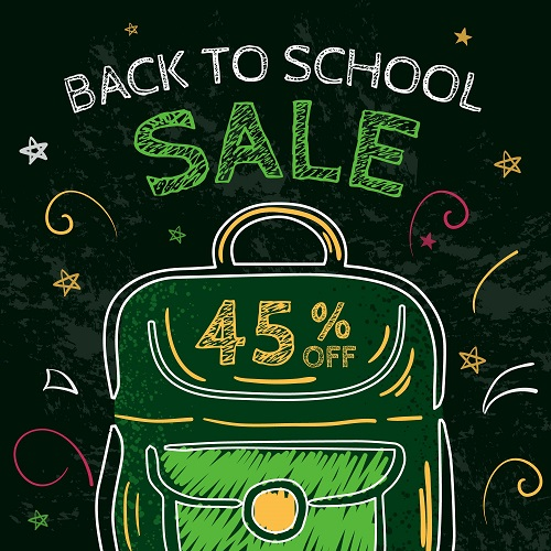 Black Board With Bag Back To School Background Vector