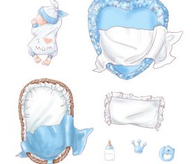 Blue Baby Sleeping with Bed Vector