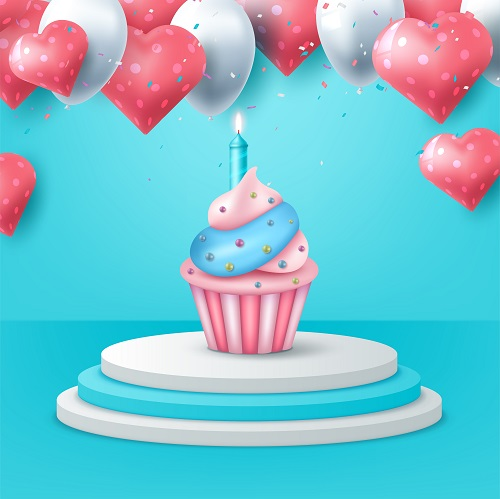 Blue Pink White Cupcake with Heart Balloon Vector
