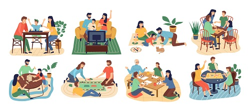 Board Games Family Set Vector
