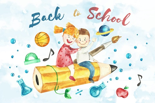 Boy Girl Riding a Pencil Back To School Background Vector