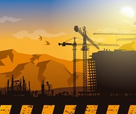 Building Construction Silhouette Vector