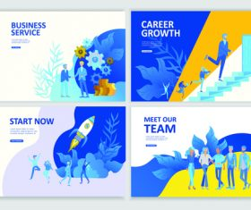 Business flat banner concept illustration vector