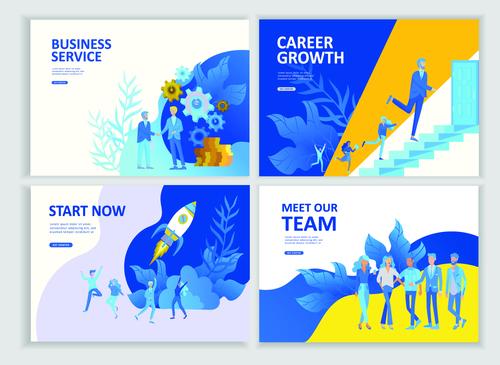 Business flat banner concept illustration vector