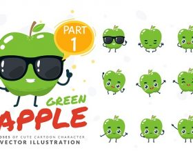 Cartoon Images of Cute Apple Vector