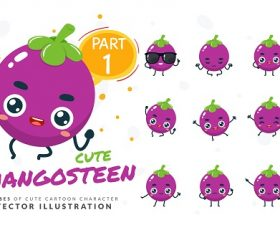 Cartoon Images of Cute Mangosteen Vector