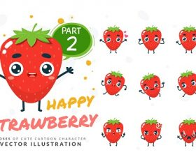Cartoon Images of Cute Strawberry Vector
