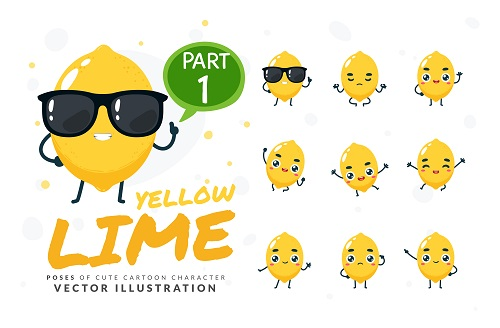 Cartoon Images of Cute Yellow Lime Vector