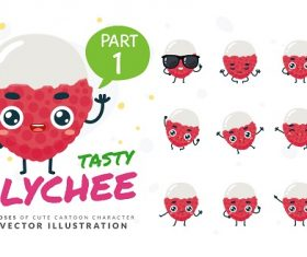 Cartoon Images of Tasty Lychee Vector