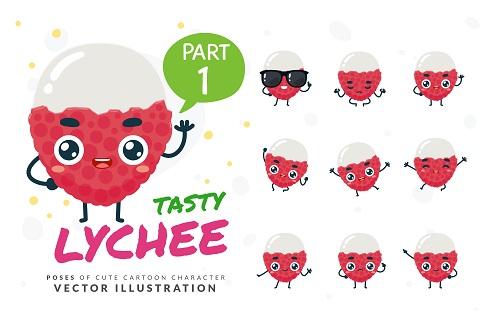 Cartoon Images of Tasty Lychee Vector