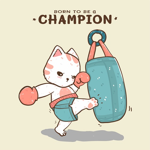 Cat Kick Boxing Vector