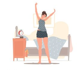 Cheerful Young Female Stretching Vector