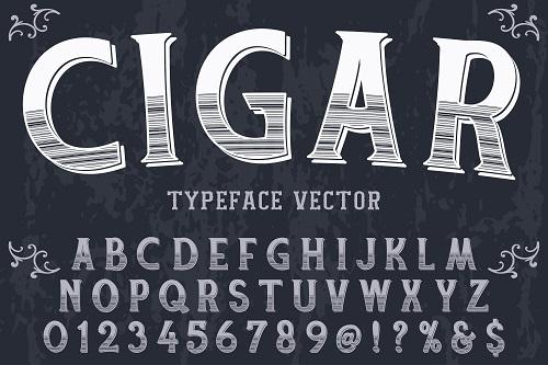 Cigar Typeface Font Vector