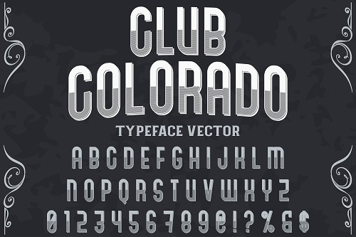 Club Colorado Typeface Font Vector