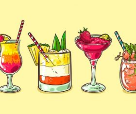 Cocktail Drinks Poster Vector