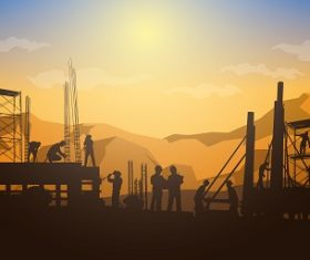 Construction Building Silhouette Vector