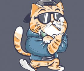 Cool Cat Smoking Cartoon Vector