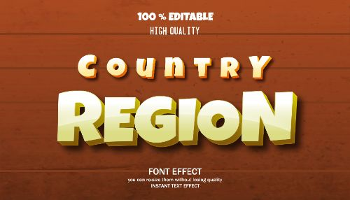 Country Region Editable Text Effect Vector