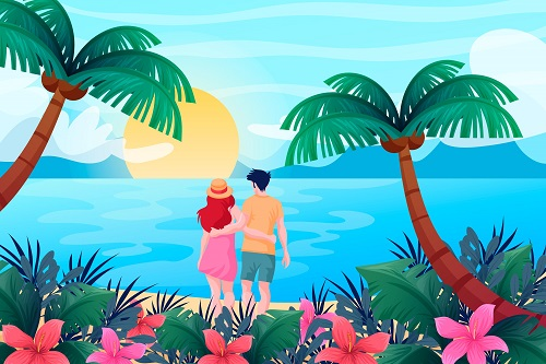 Couple in the Beach Background Vector