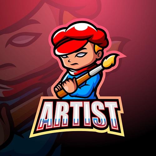 Cute Artist Logo Vector