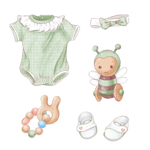 Cute Baby Clothes and Doll Vector