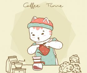 Cute Hipster Cat Barista Vector