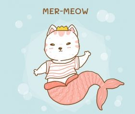 Cute Little Cat Mermaid Vector