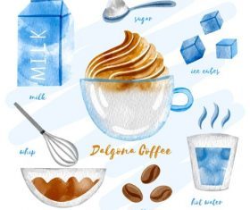 Dalgona Coffee Ingredients Vector