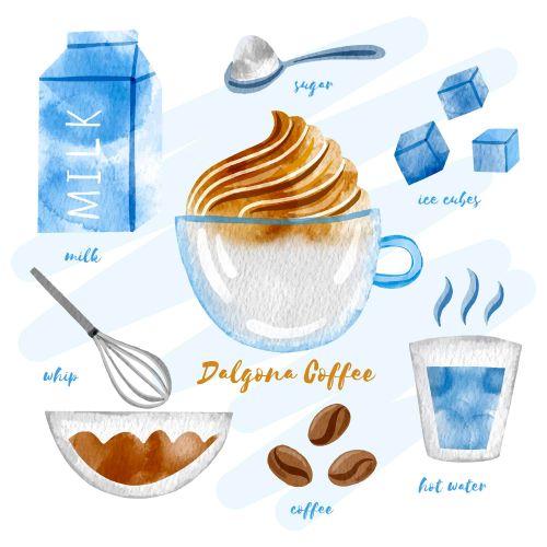 Dalgona Coffee Ingredients Vector
