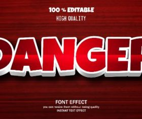 Danger Editable Text Effect Vector