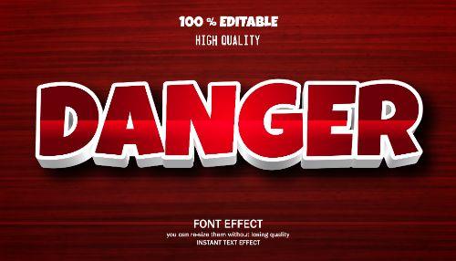 Danger Editable Text Effect Vector