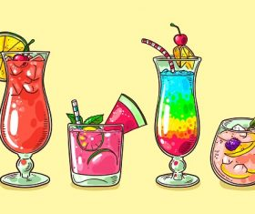Different Cocktail Drinks Vector